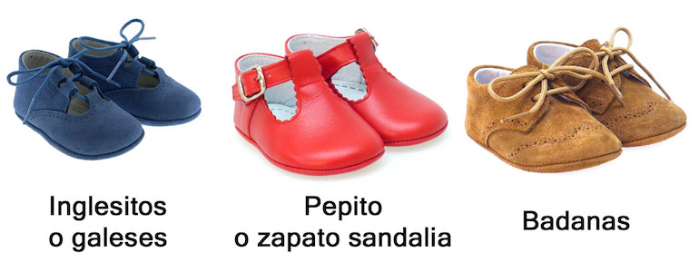 Vocabulario de zapatos bebé