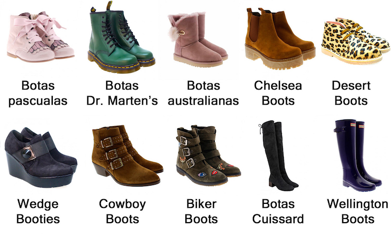 Vocabulario de zapatos tipo botas