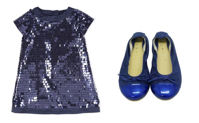 Bailarinas metalizadas de niña azules