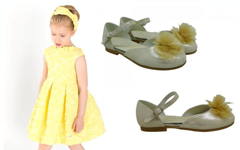 Bailarinas metalizadas de niña con flor