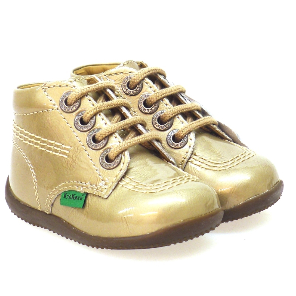 Bota Cordones Charol Oro Kickers Billy