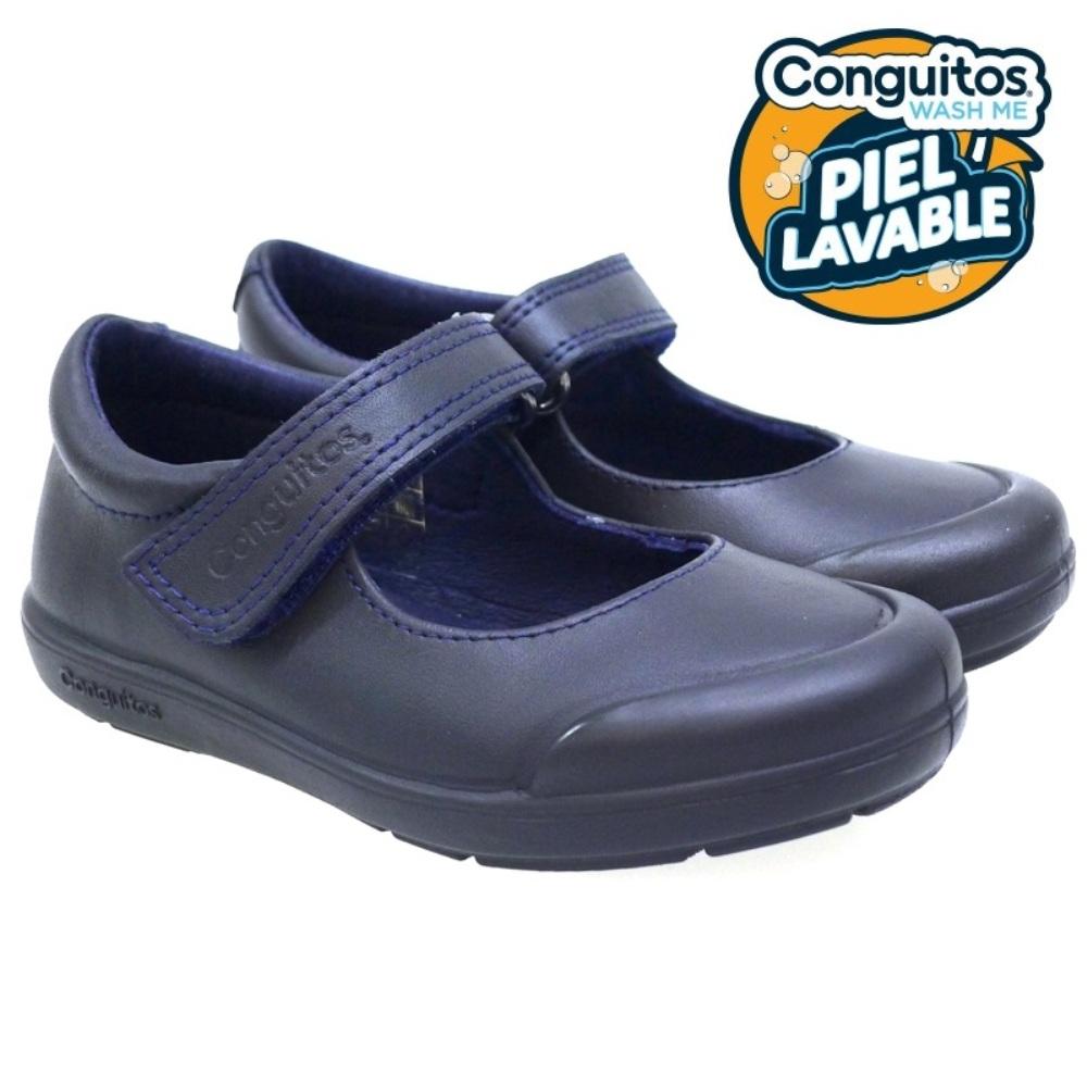 Merceditas Velcro Colegio Piel Lavable Conguitos 28001 Azul
