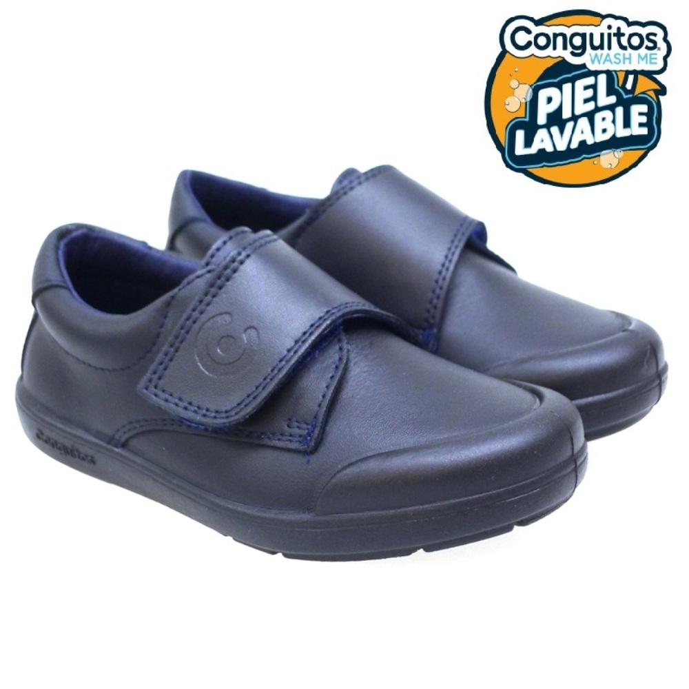 Zapato Velcro Colegio Piel Lavable Conguitos 28002 Azul
