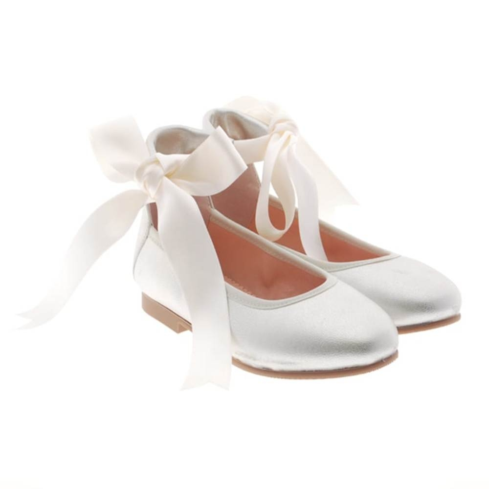 Bailarina lace-up metalizada ceremonia ni?a Carrile