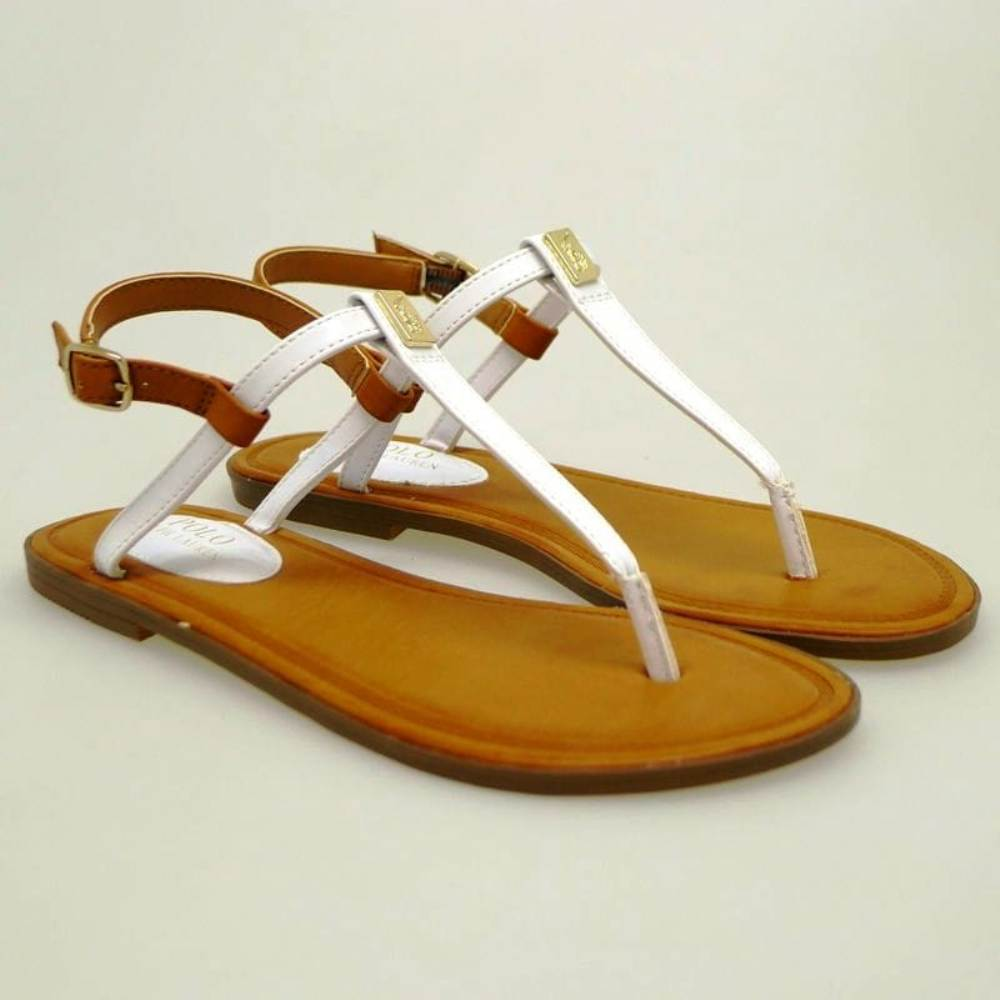 Sandalias esclavas mujer Polo Ralph Lauren Gala Blanco