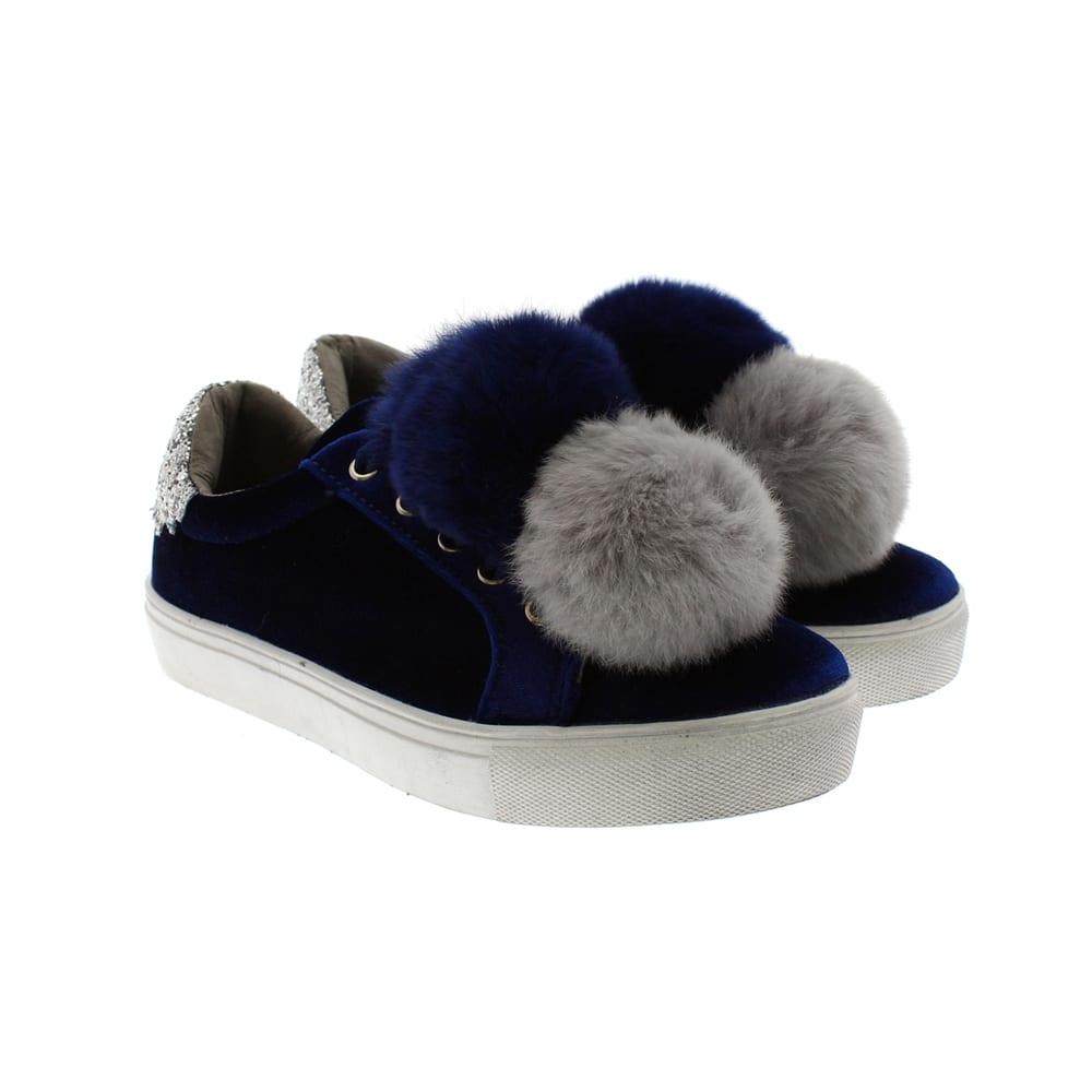 Zapatos sport pompones Oca Loca 7059-48 Terciopelo azul