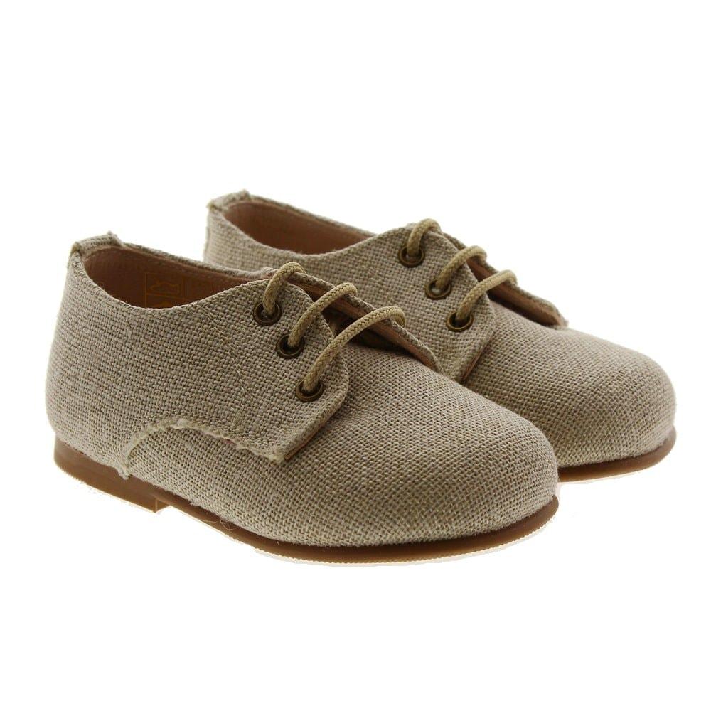 Zapato cordón ceremonia lino arena Carrile P-703