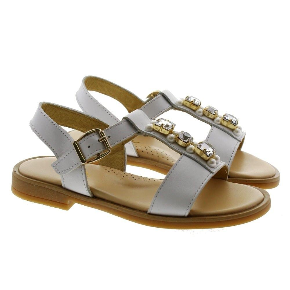 Sandalia piel piedras y perlas Clarys 6843