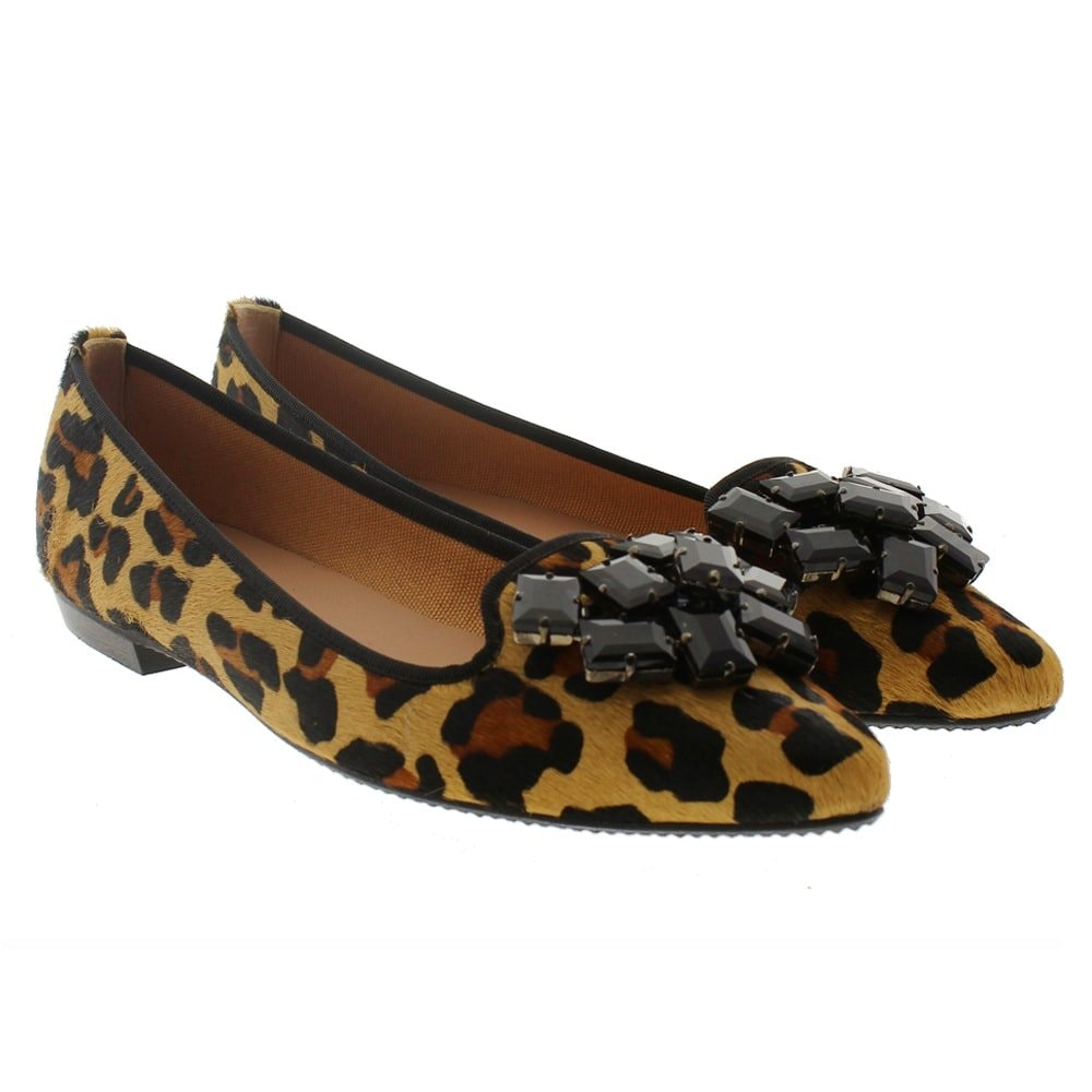 Slipper print leopardo piedras Miuxa Zura