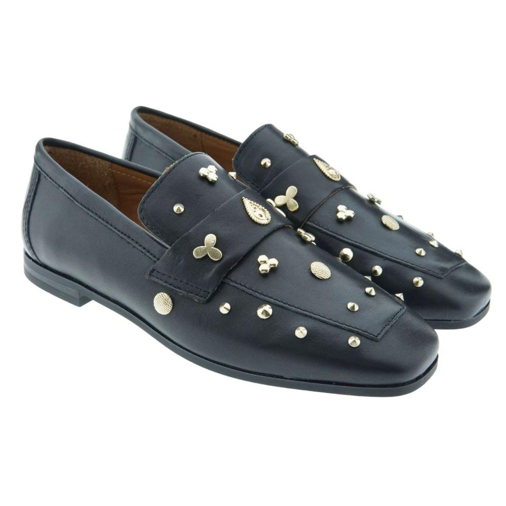 Zapato loafer piel adornos dorados Alpe 414520